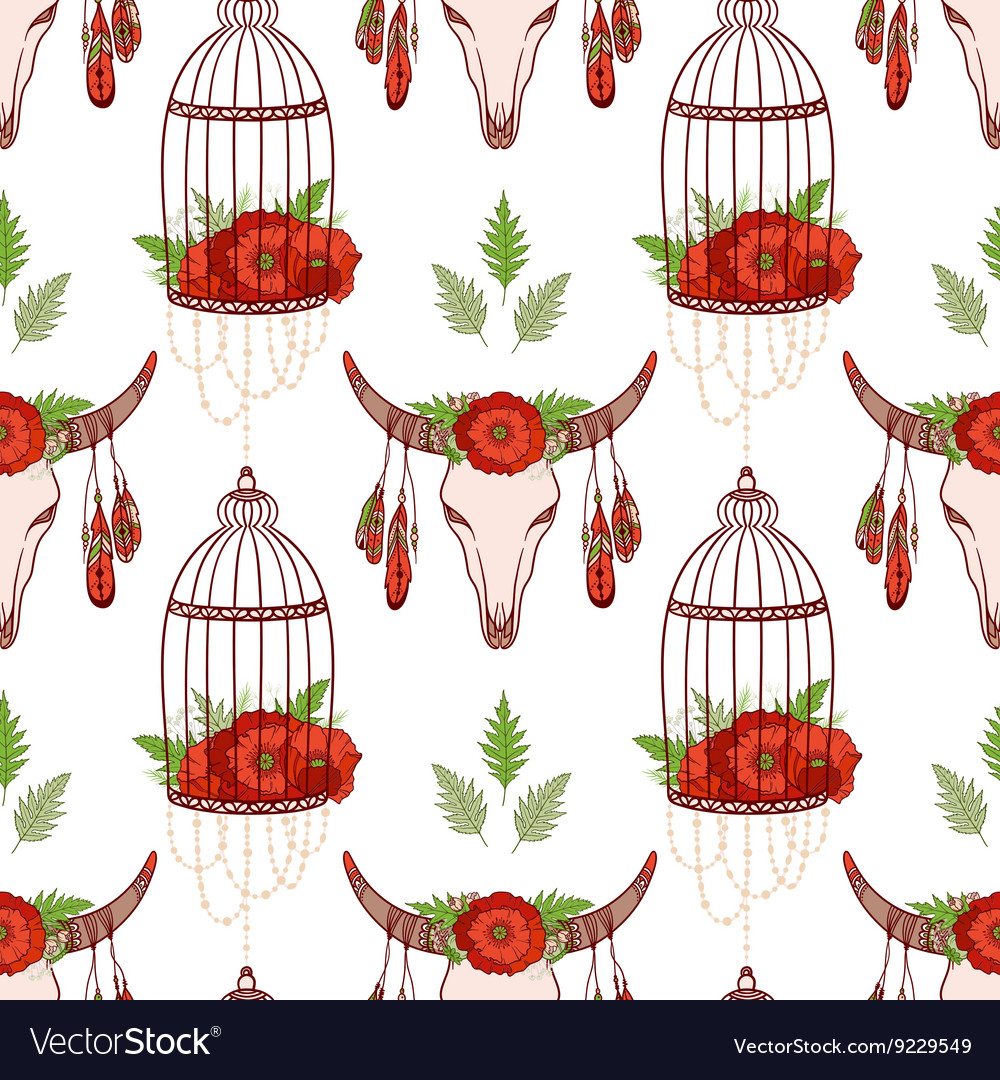 Seamless pattern with skull cow poppies in cages vector
