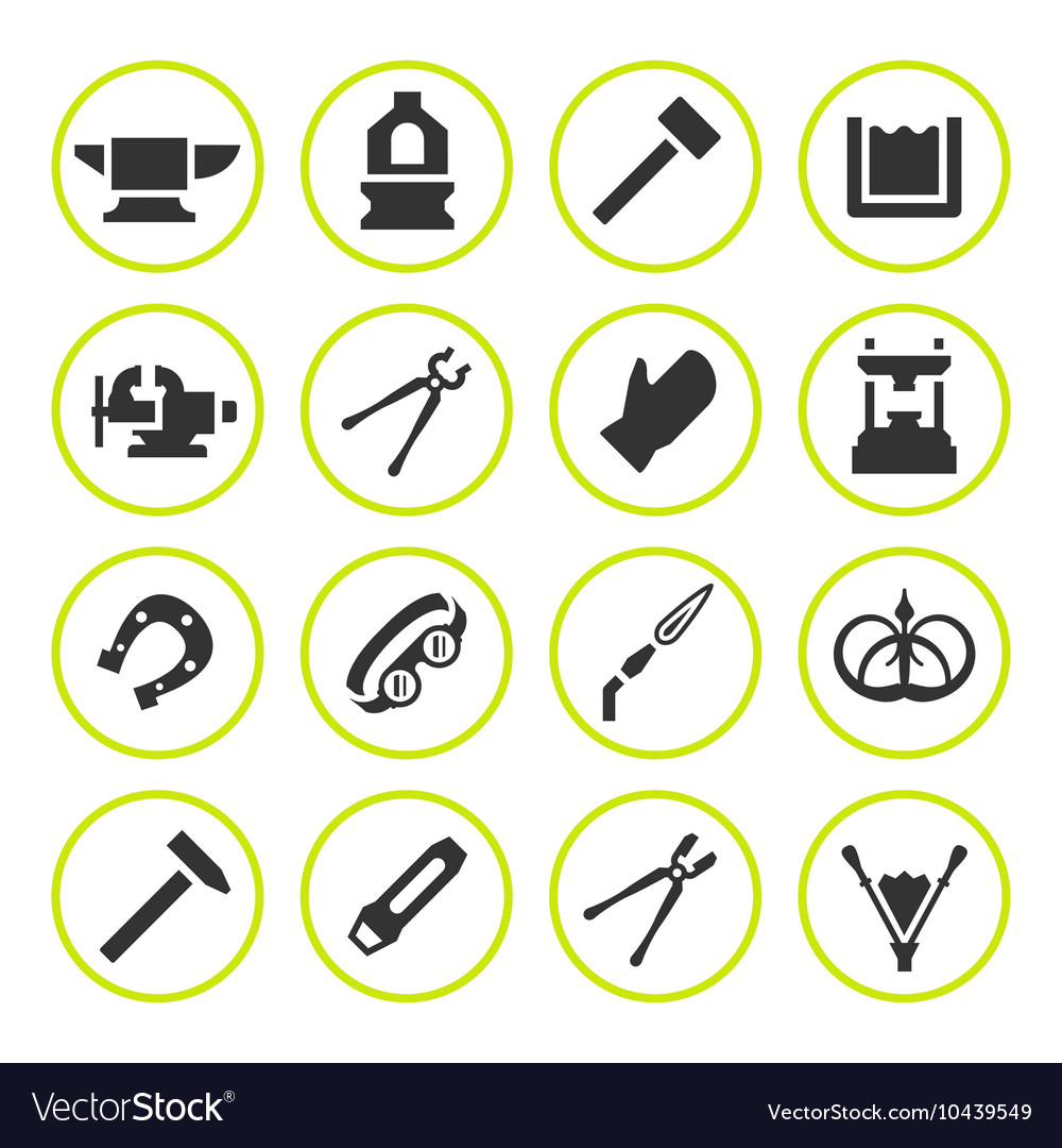 Set round icons of forge vector