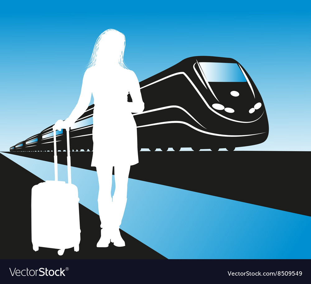 Silhouette of a lady waiting for a train vector