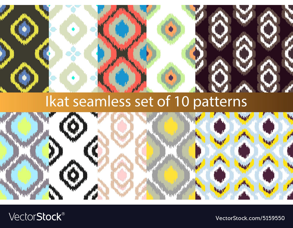 Ikat seamless pattern set abstract vector