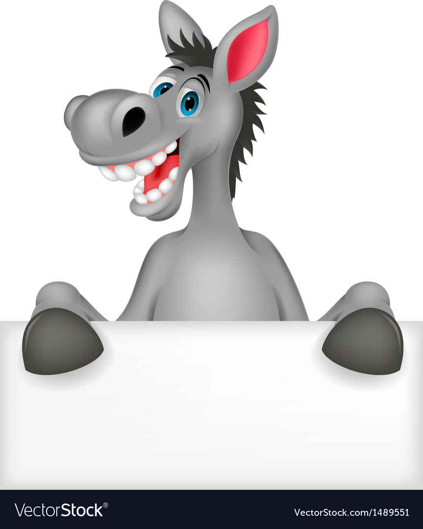 Donkey cartoon with blank sign vector