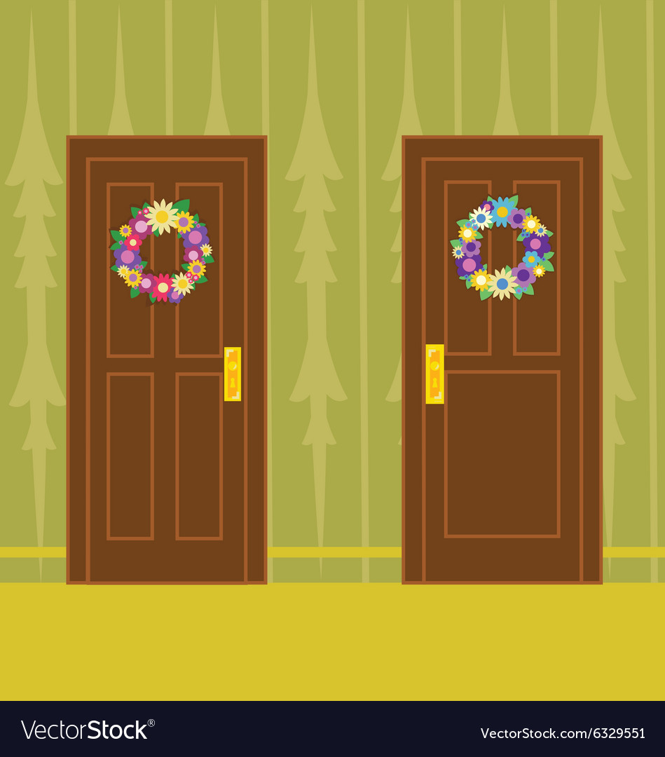 Flower wreath on wooden door vector