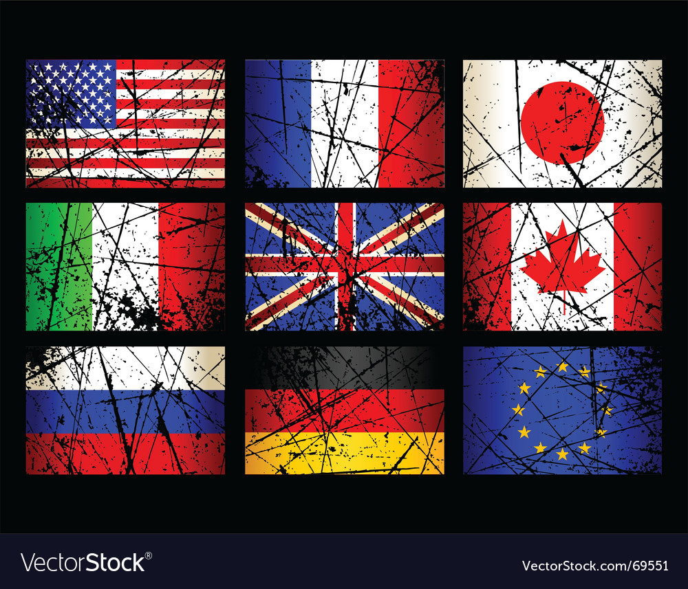 Grunge flags vector