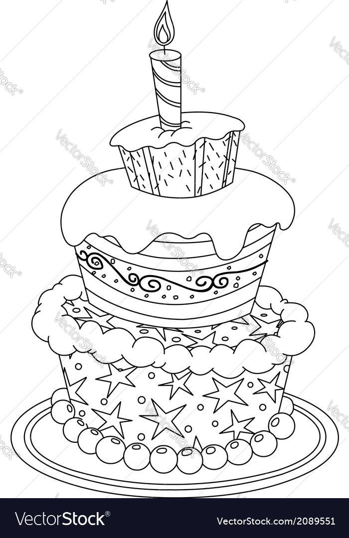Outlined birthday cake vector