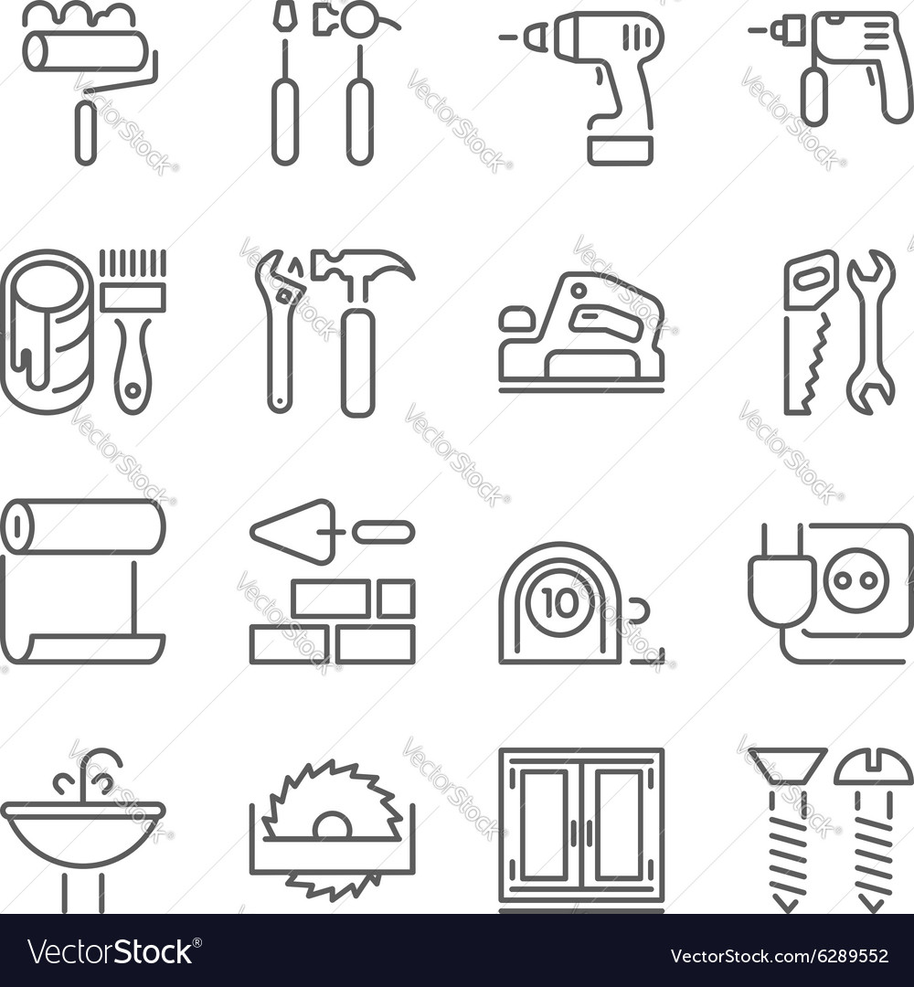 Outline web icons set vector