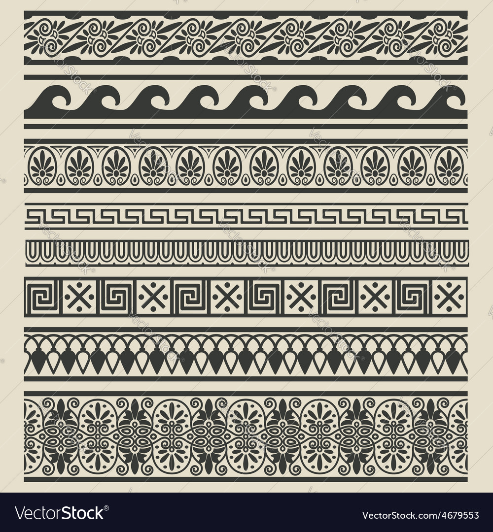 Border decoration set greek ethnic patterns vector