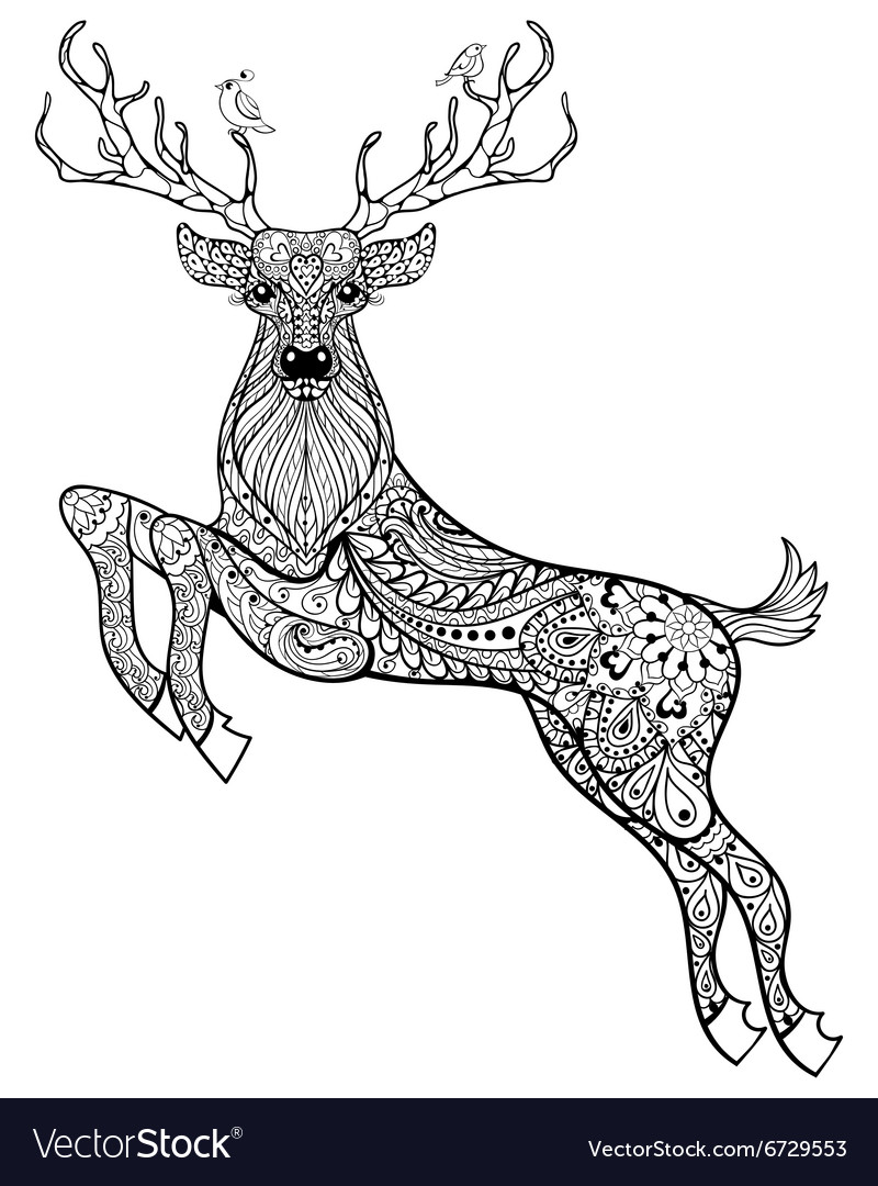 Hand drawn magic horned deer with birds for adult vector