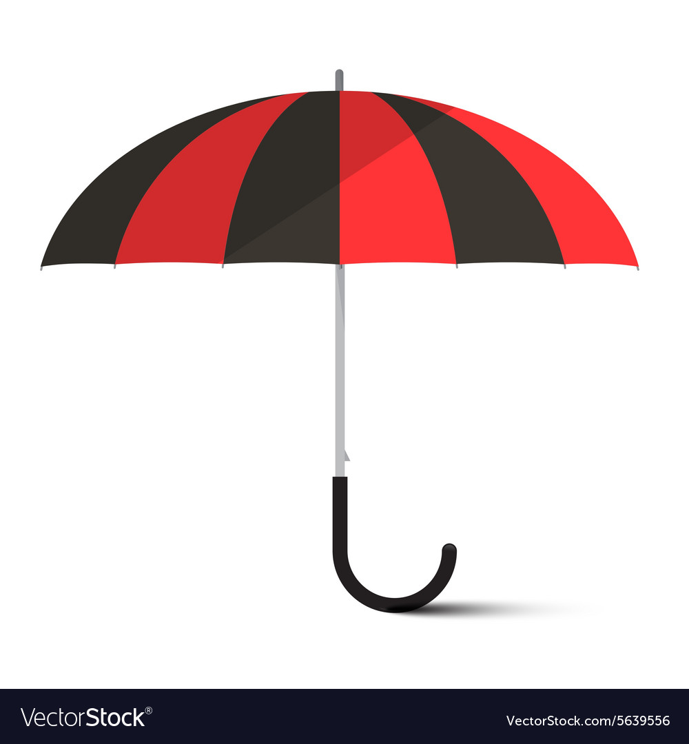 Black and red umbrella  parasol isolated on vector