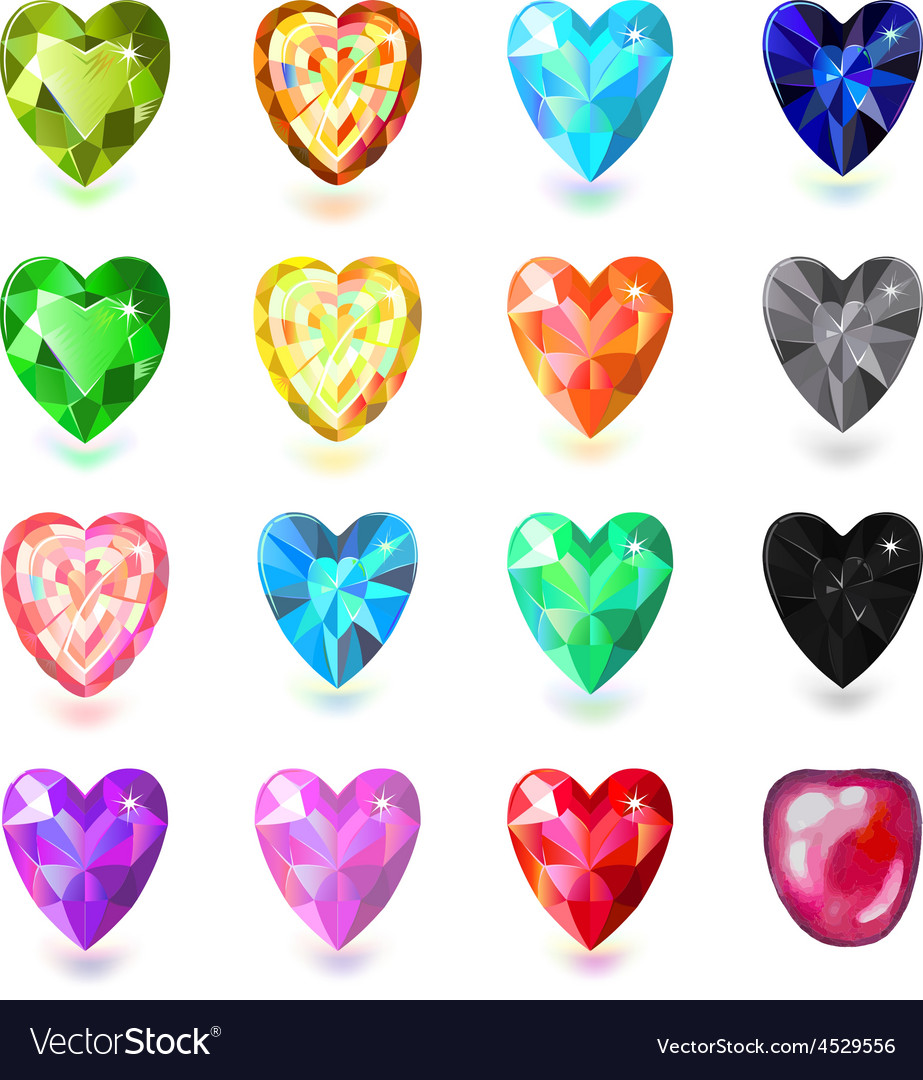 Colored heart cut gems vector