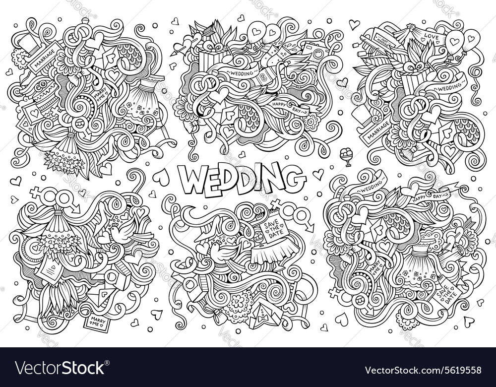 Colorful hand drawn doodle cartoon set of vector