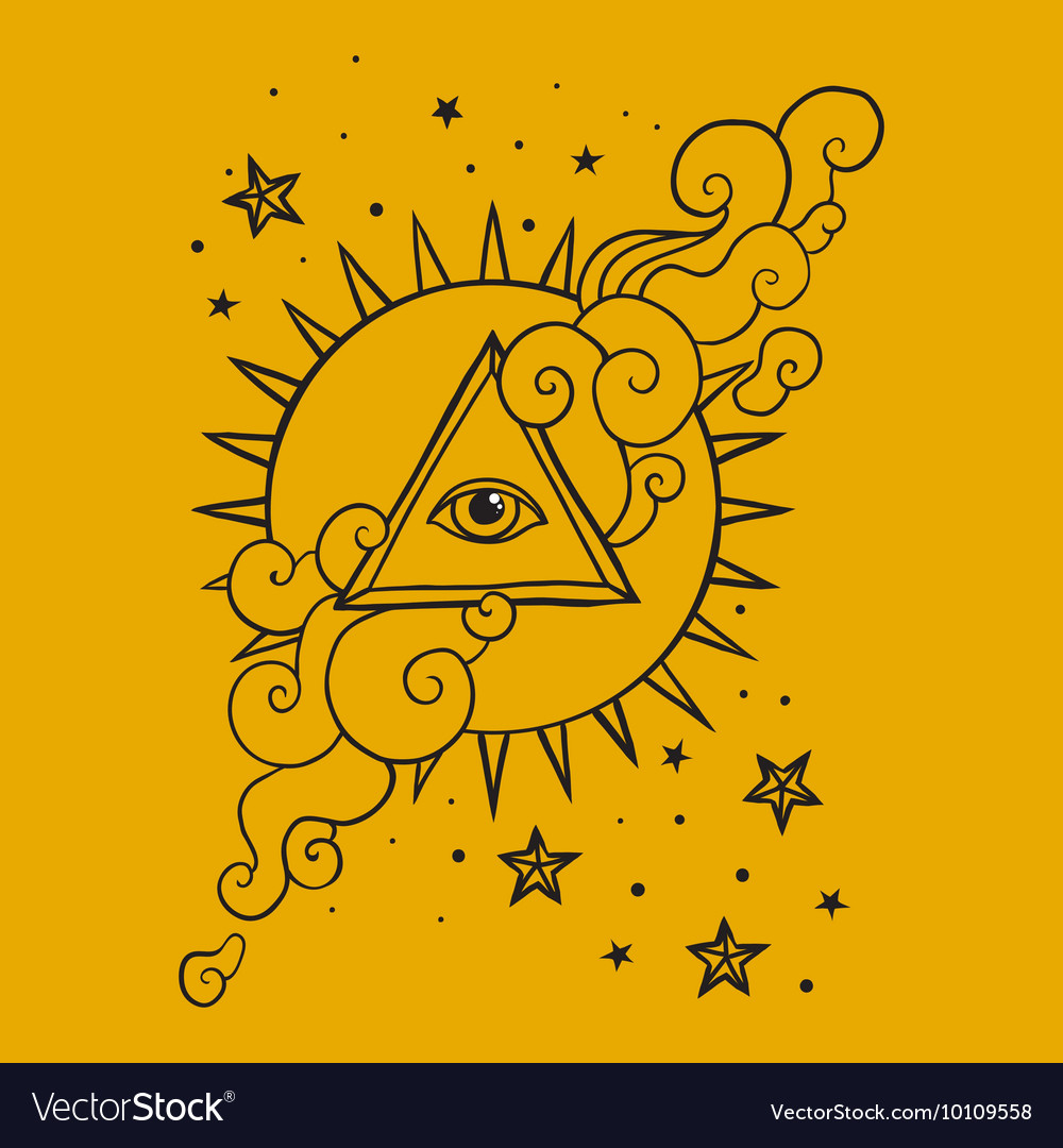 Eye in pyramid with sun and stars vector