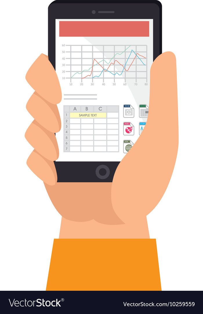 Spreadsheet file document smartphone mobile vector