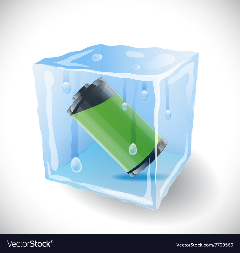 Ice cube with full battery vector