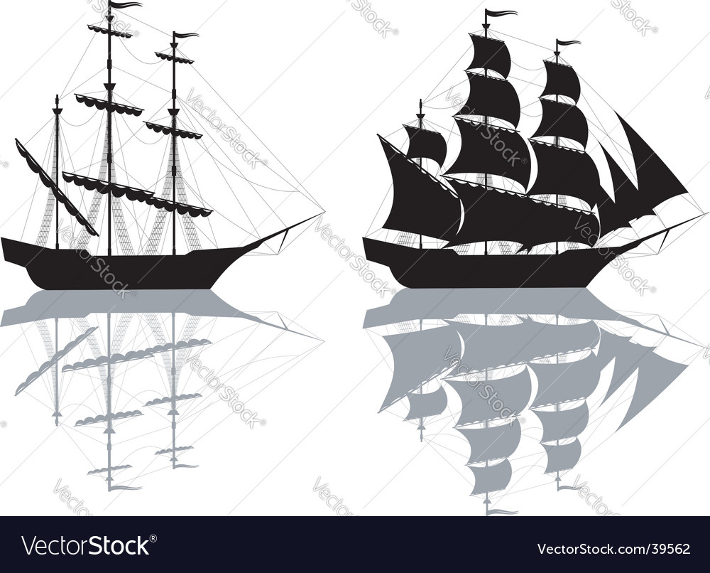 Two ships isolated on white vector
