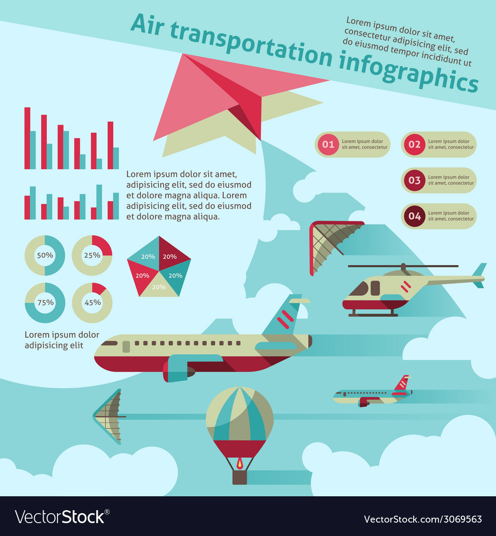 Air transport infographic vector
