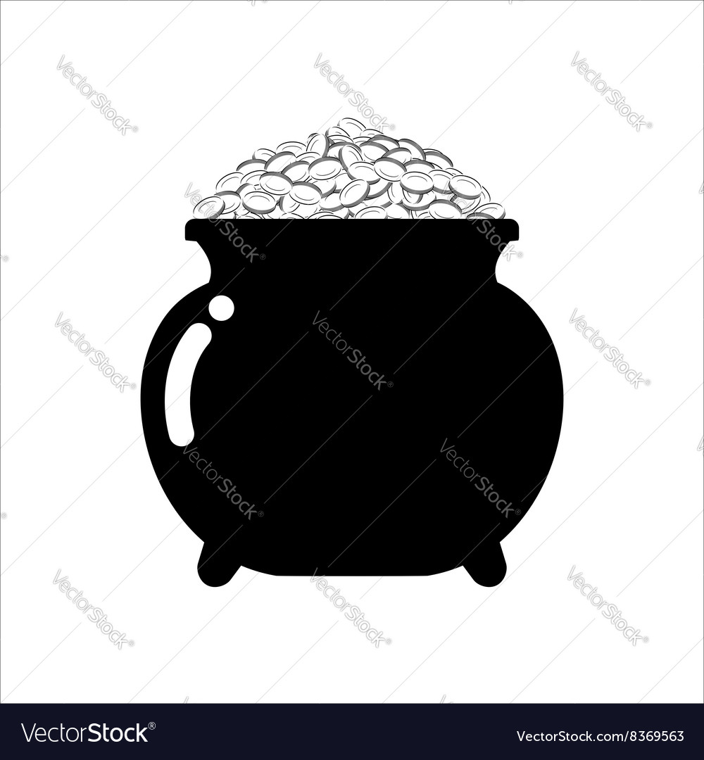 Pot of gold icon on white background isolated vector