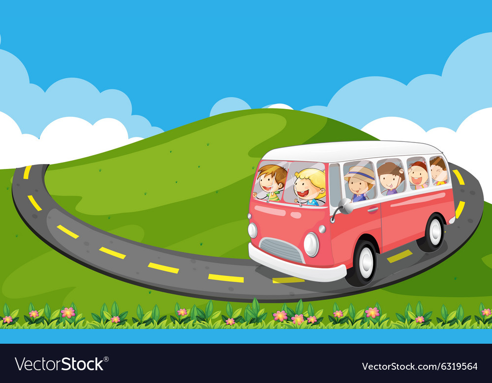 Children riding in a van vector
