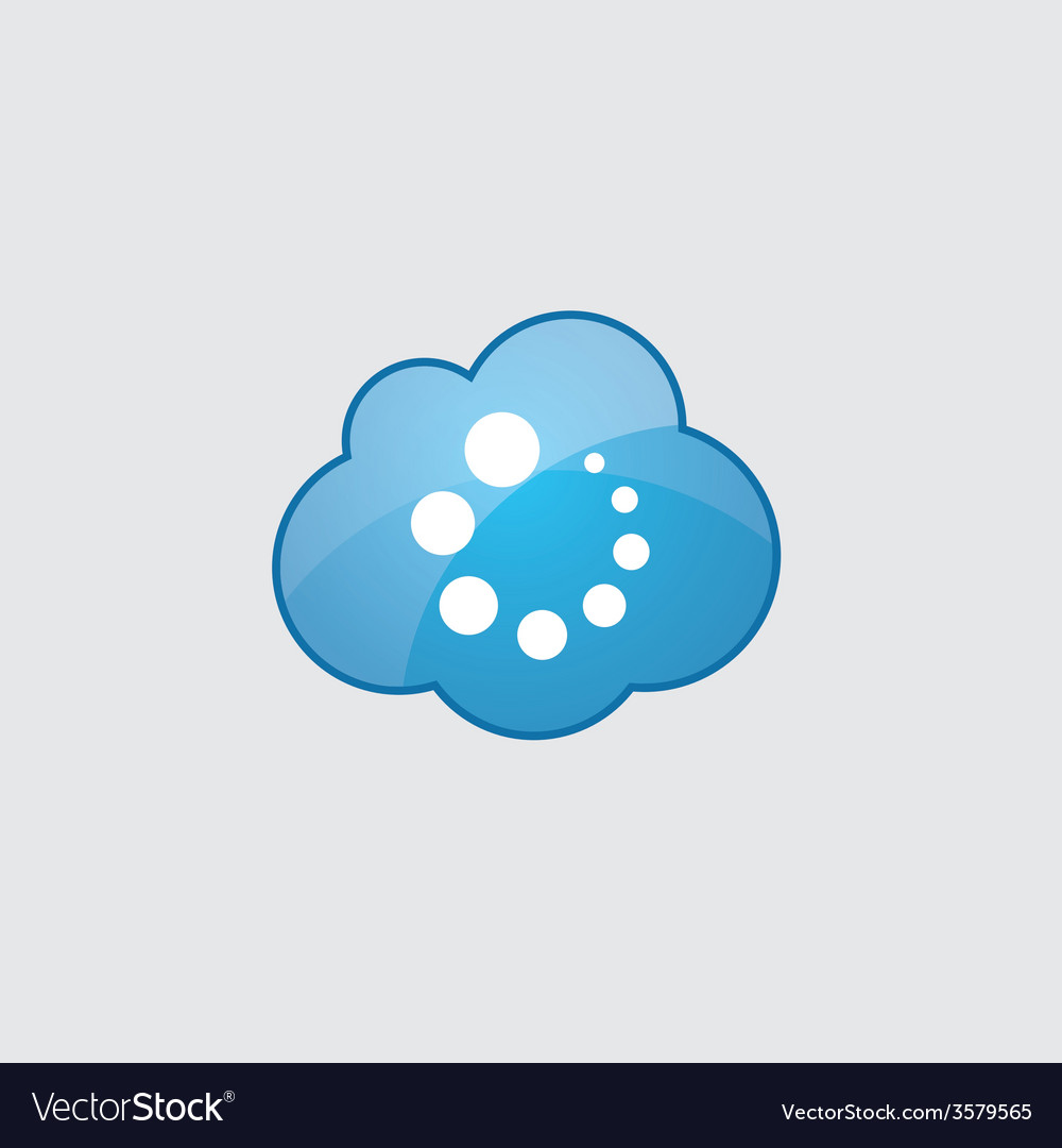 Blue cloud loading icon vector