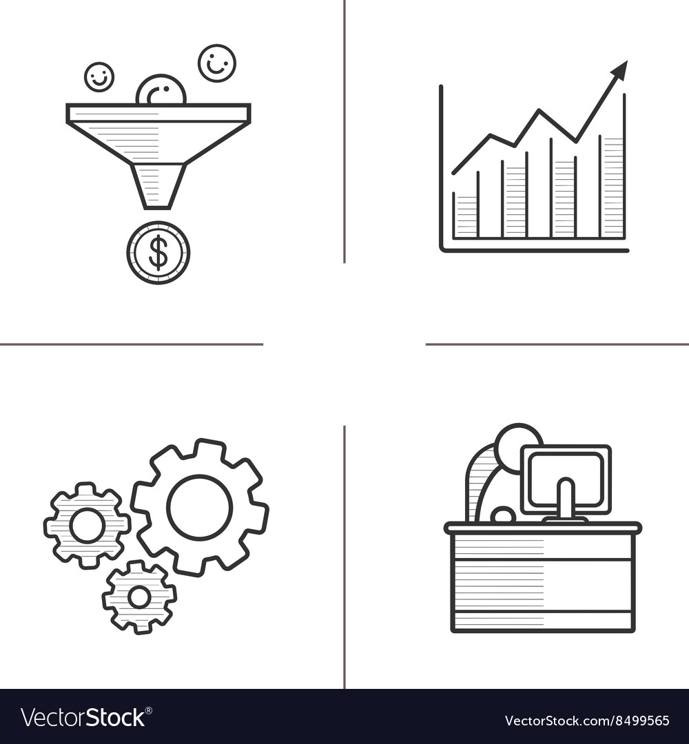 Business linear icons set vector