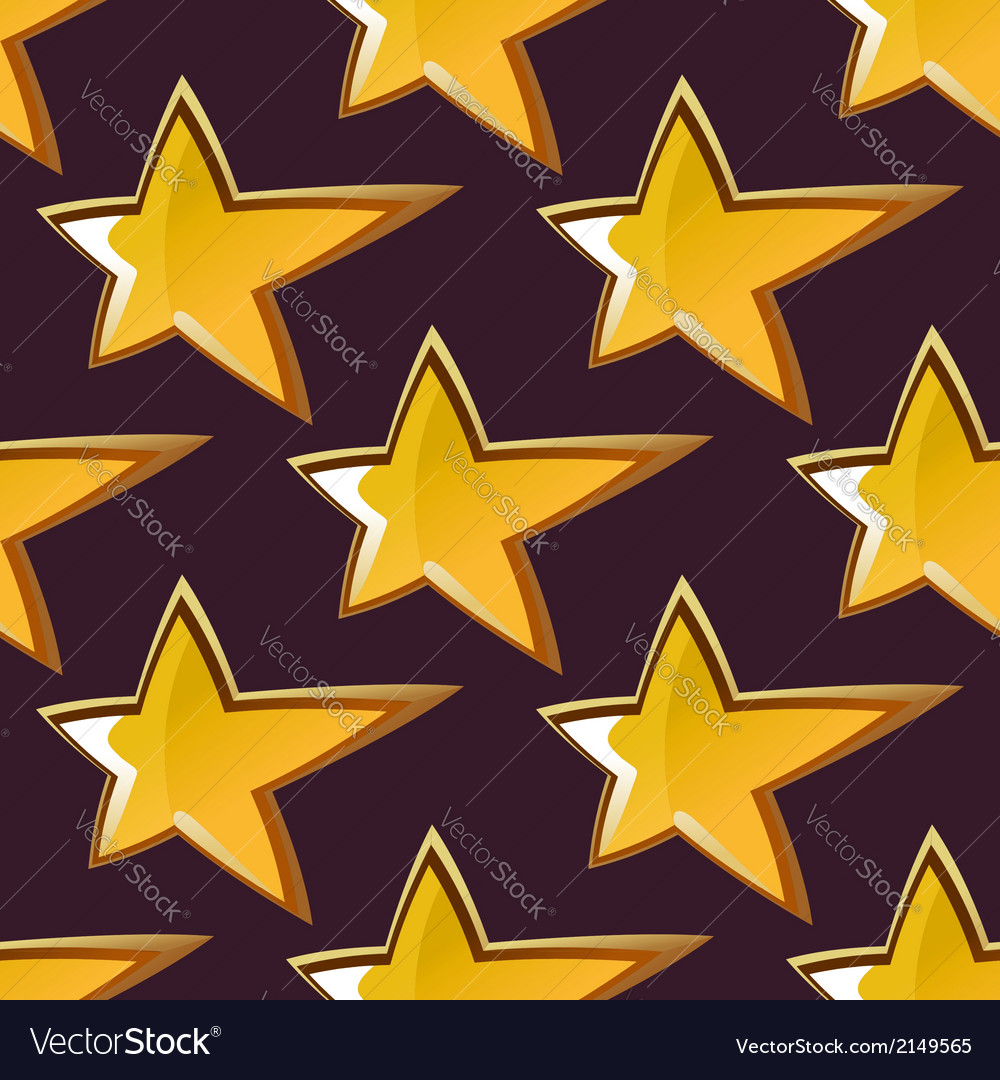 Golden shooting star seamless pattern vector