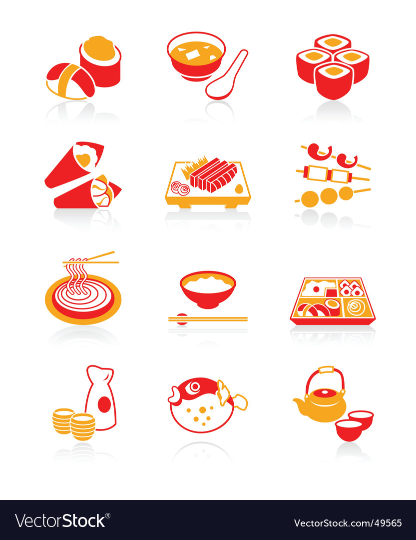 Sushibar icons juicy series vector