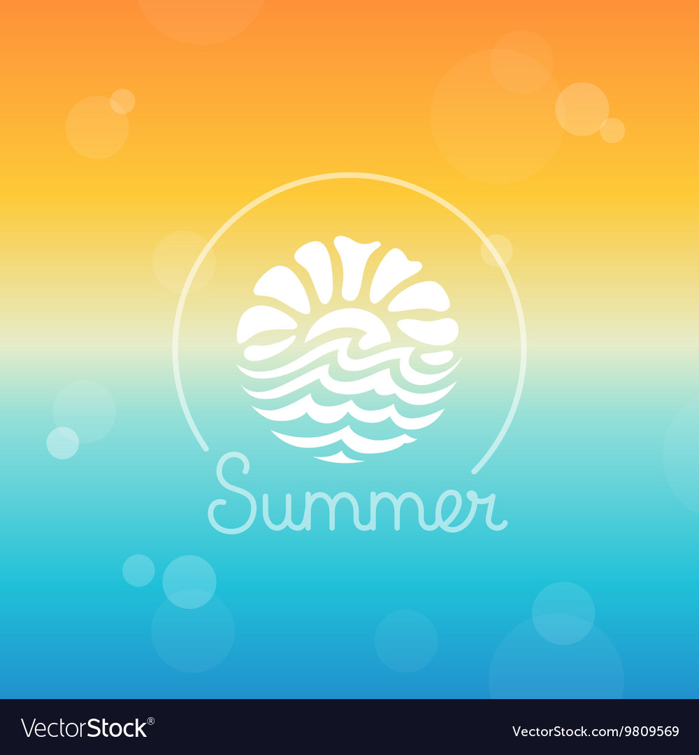 Abstract logo design template  sun and sea vector