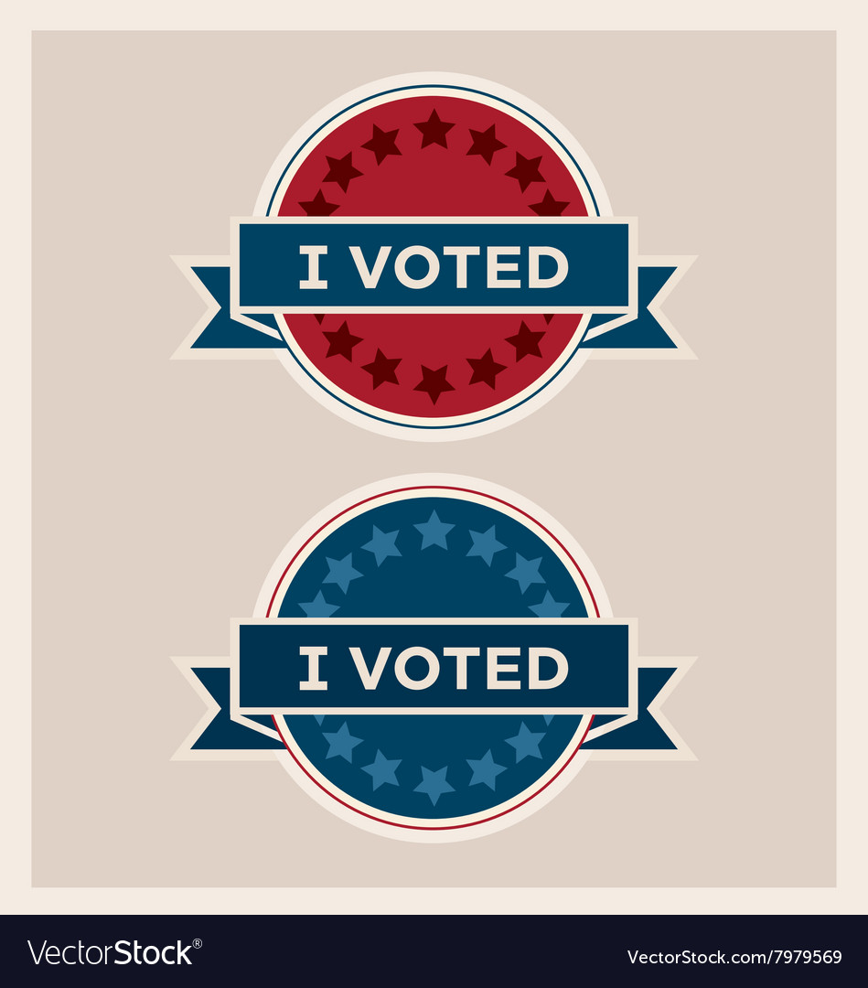 I voted circle banner and ribbon set vector