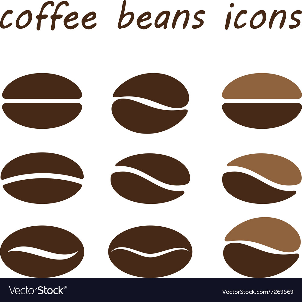 Set coffee beans vector