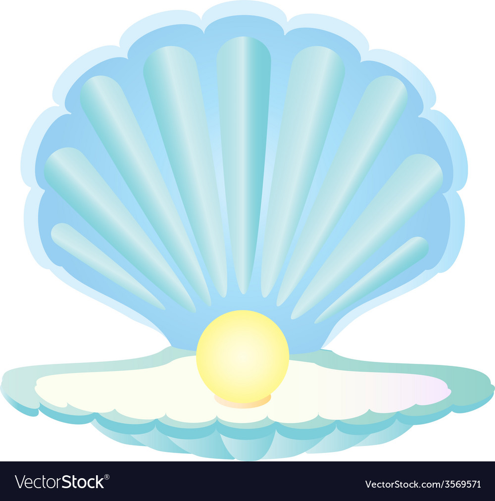 Blue seashell with pearl vector