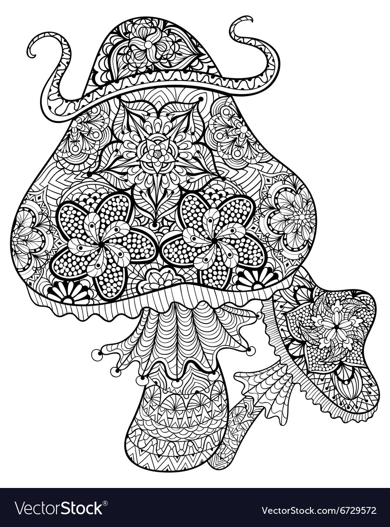 Hand drawn magic mushrooms for adult anti stress vector