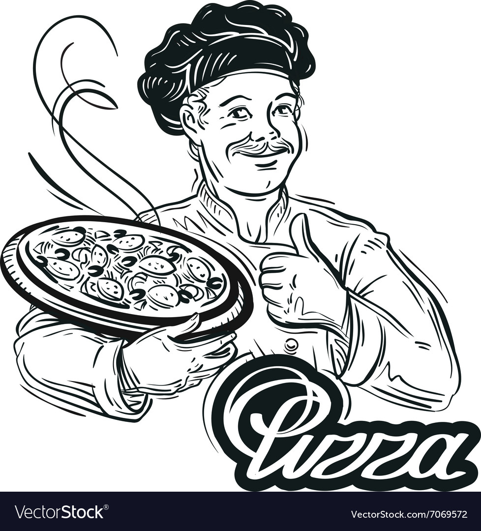 Handdrawn chef with pizza in his hand on a white vector