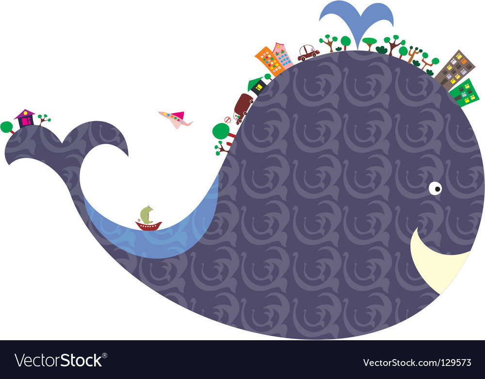 Cartoon whale vector