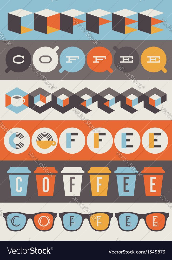Coffee emblems  set of design elements vector