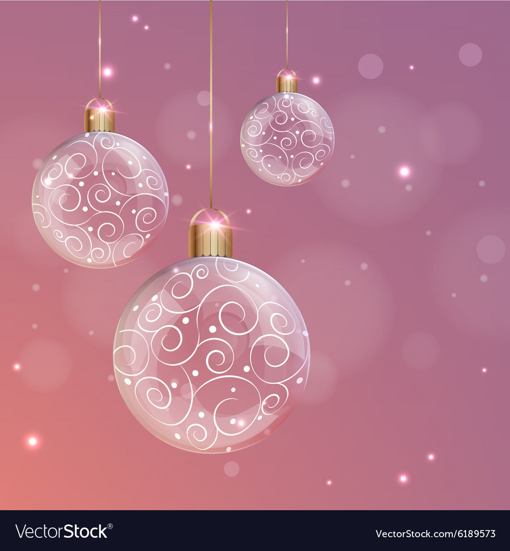 Transparent glass christmas ball with white swirls vector