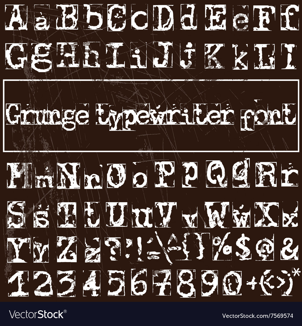 Old typewriter font vector