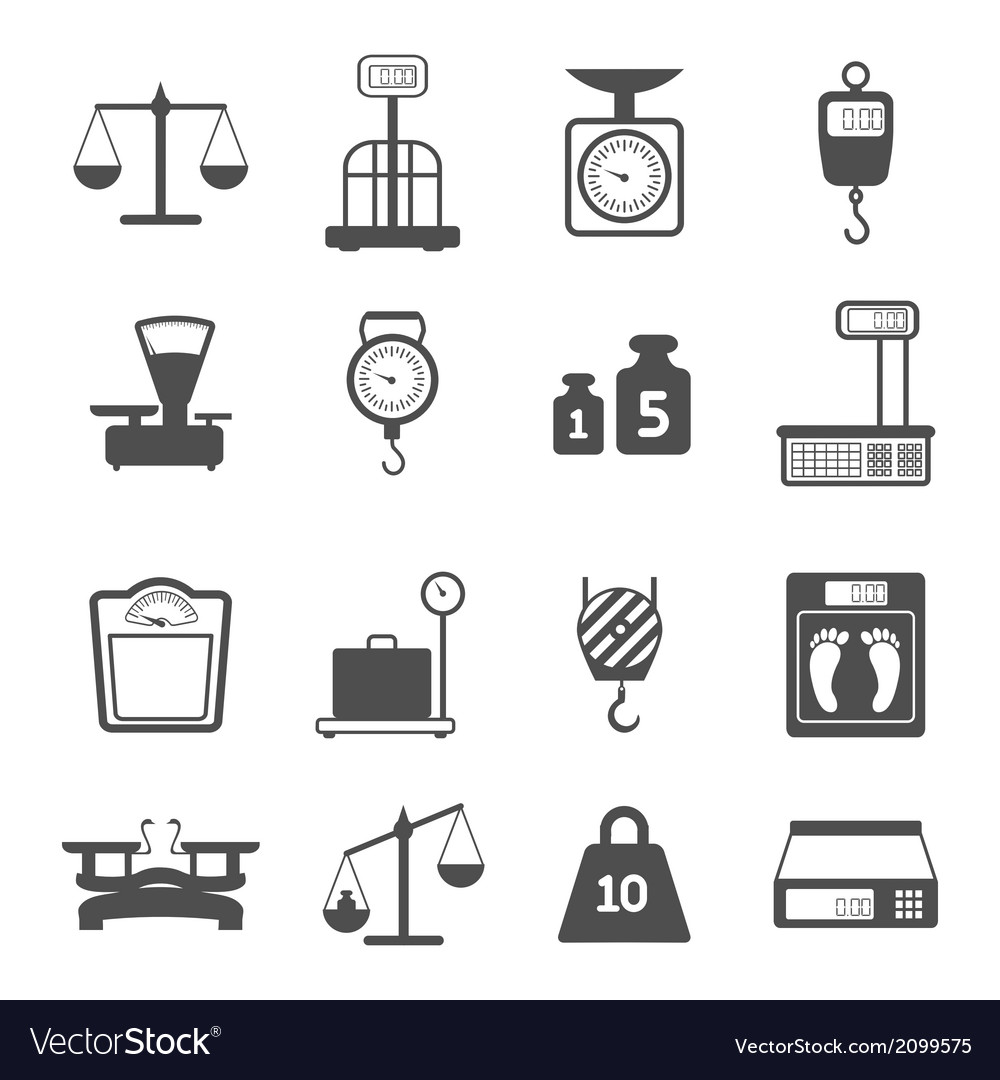 Scales weight icons set vector