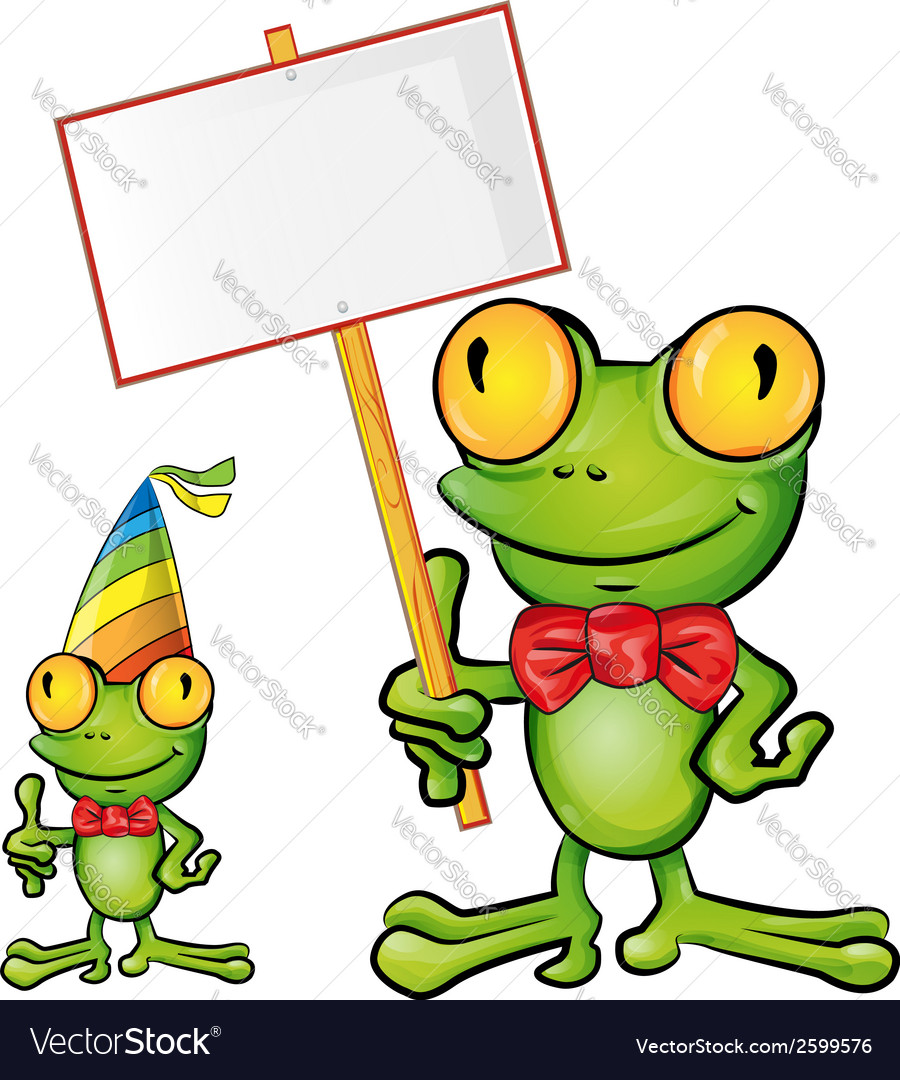 Frog cartoon with signboard vector
