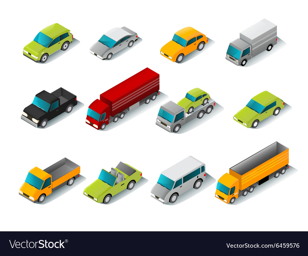 Isometric car icons set vector