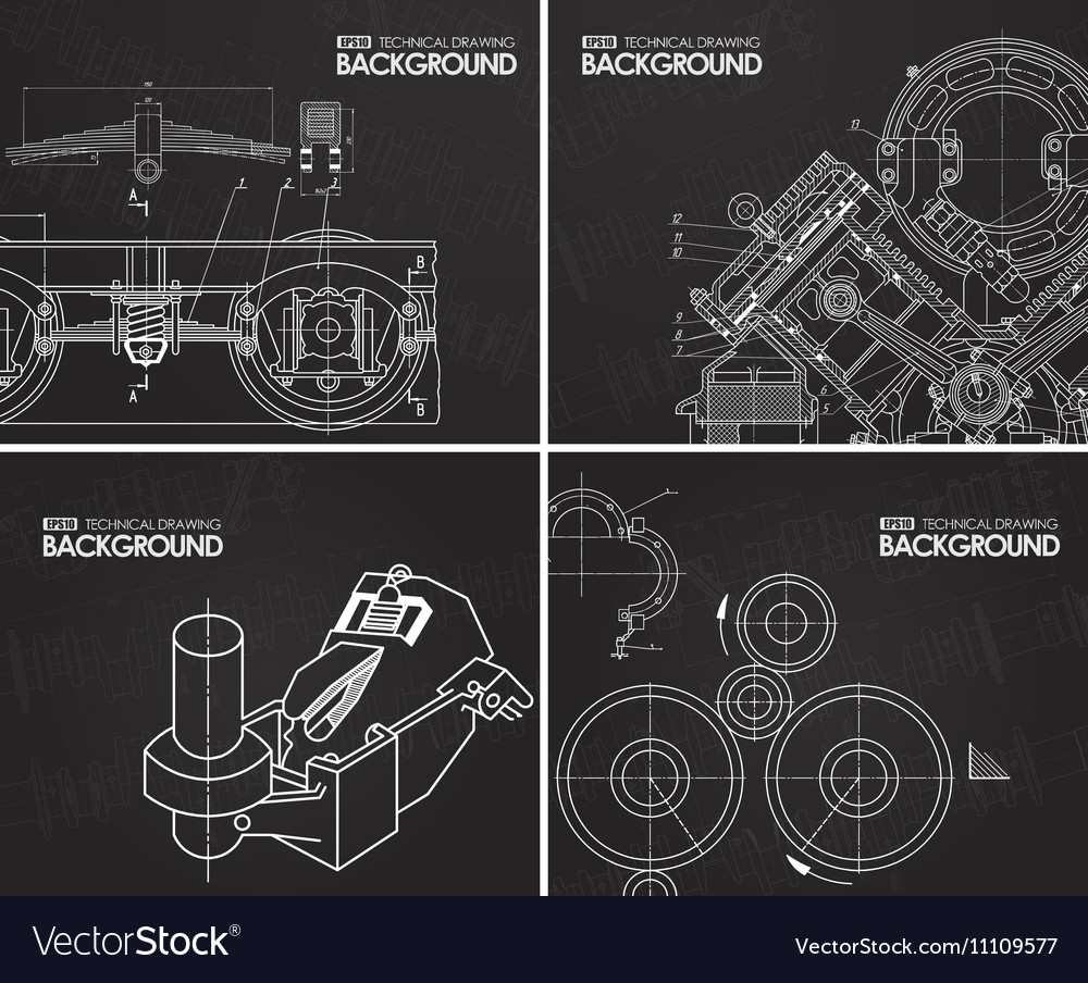 Set of backgrounds with technical drawings by hand vector