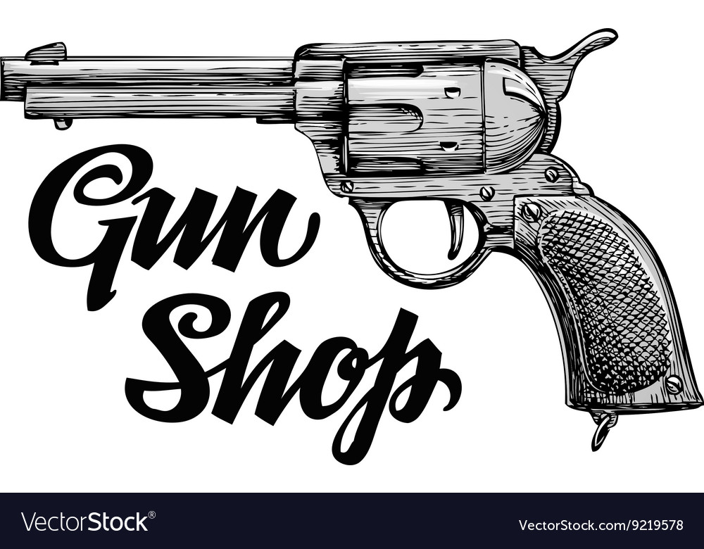 Hand drawn retro firearm antique arms gun vector