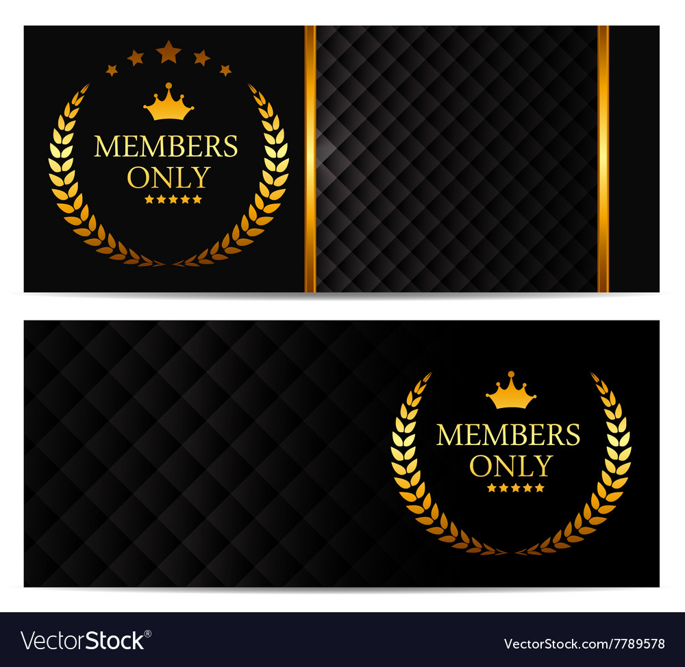 Vip members card set vector