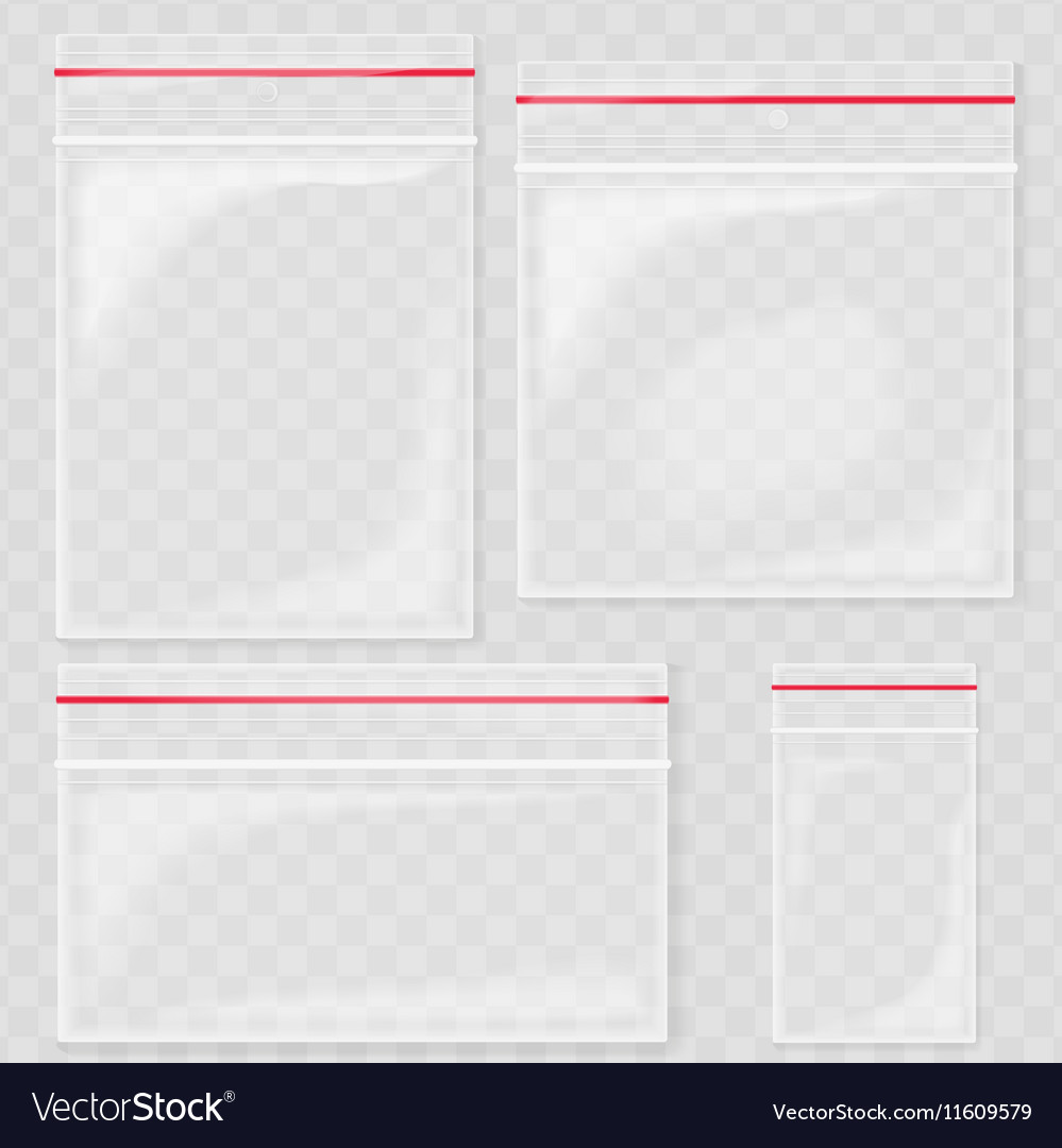 Empty transparent plastic pocket bags blank vector