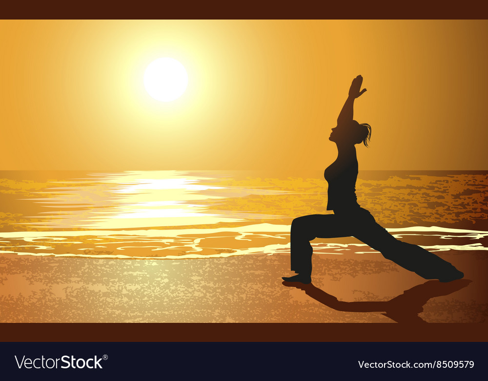 Silhouette of a girl doing yoga on the beach vector