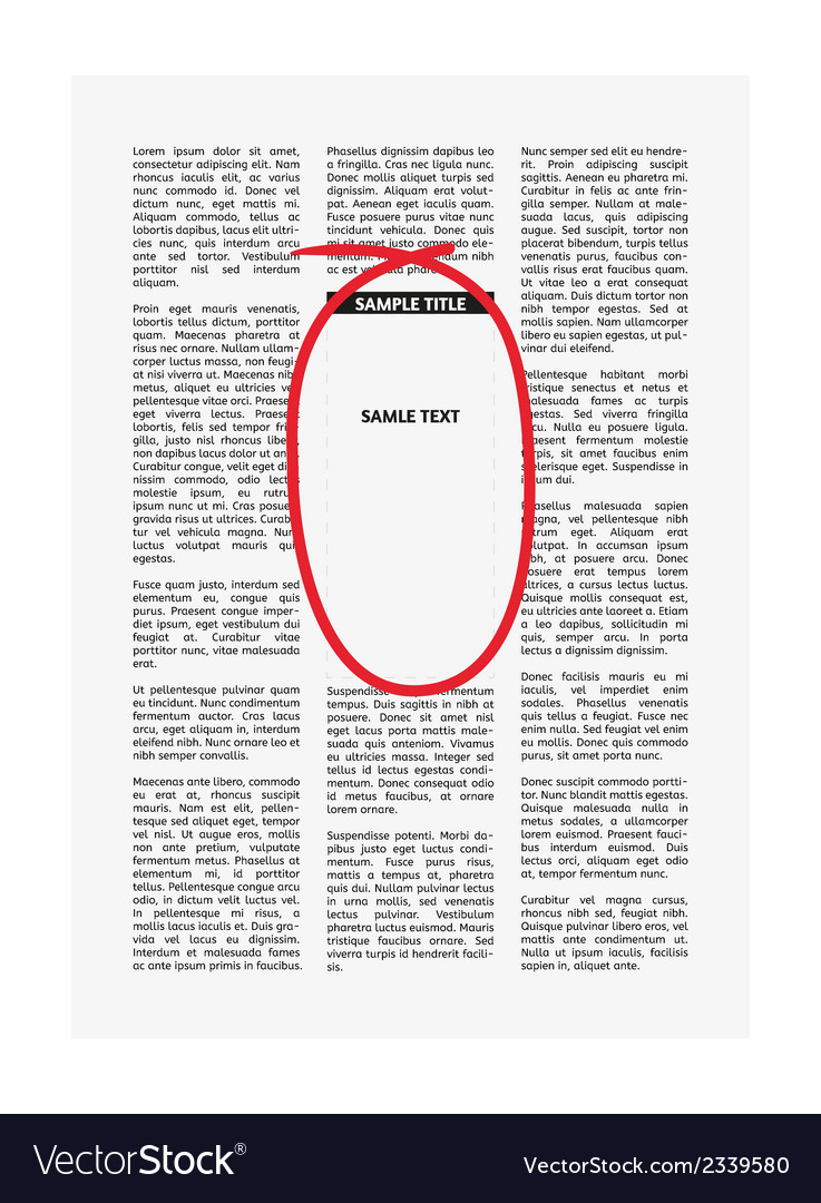 Newspaper with highlighting vector