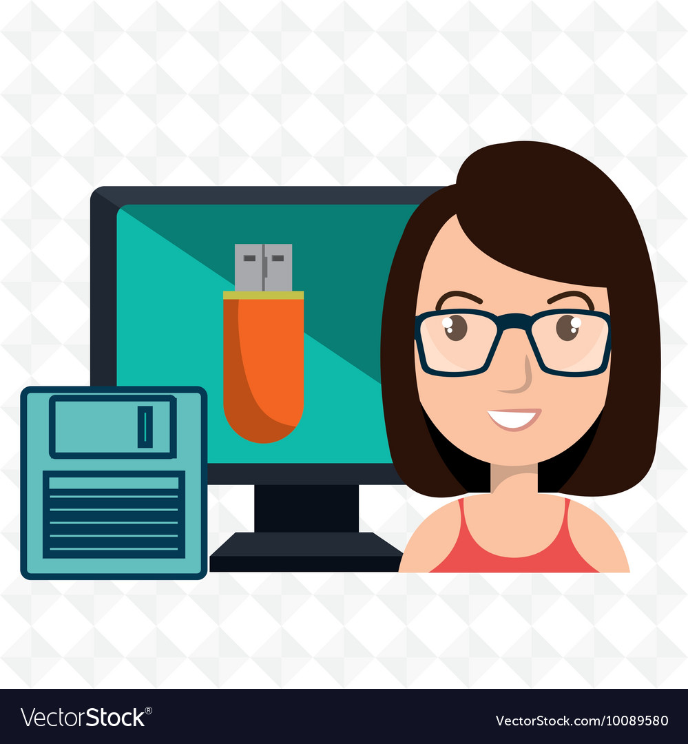 Woman computer floppy usb vector