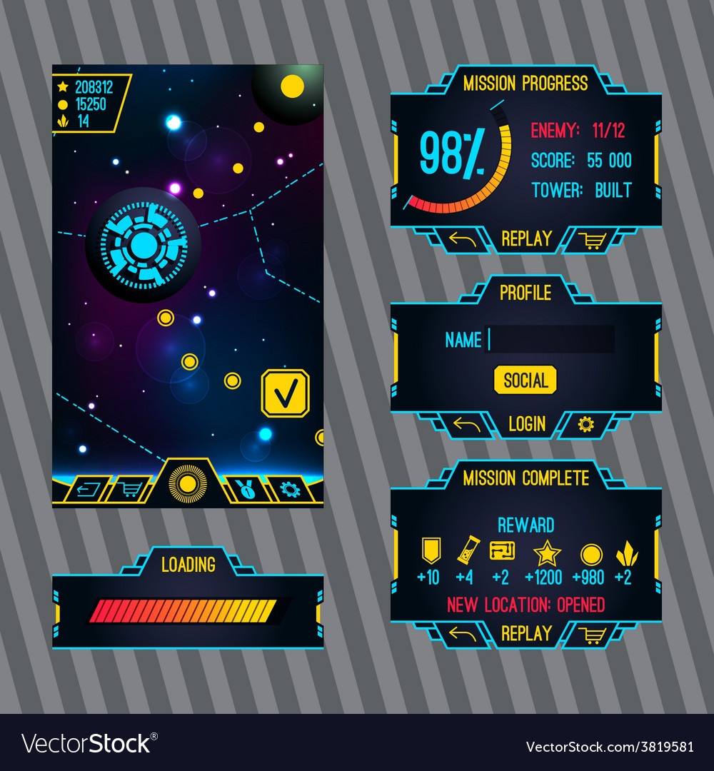 Futuristic space game interface with screen vector