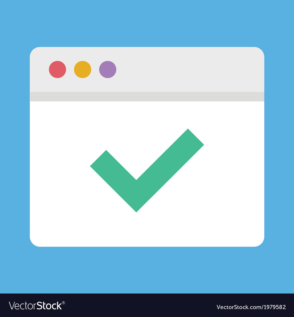 Browser and check mark icon vector