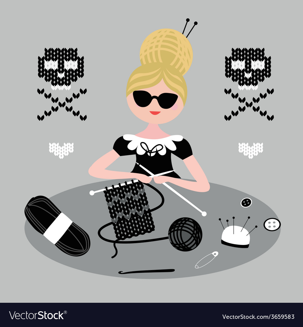 Fashionable knitting vector