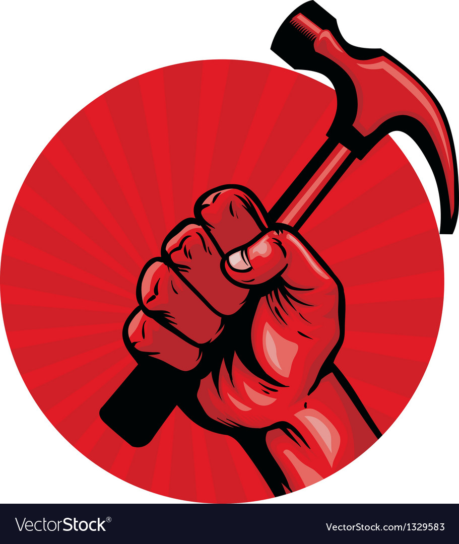 Hold a hammer poster vector