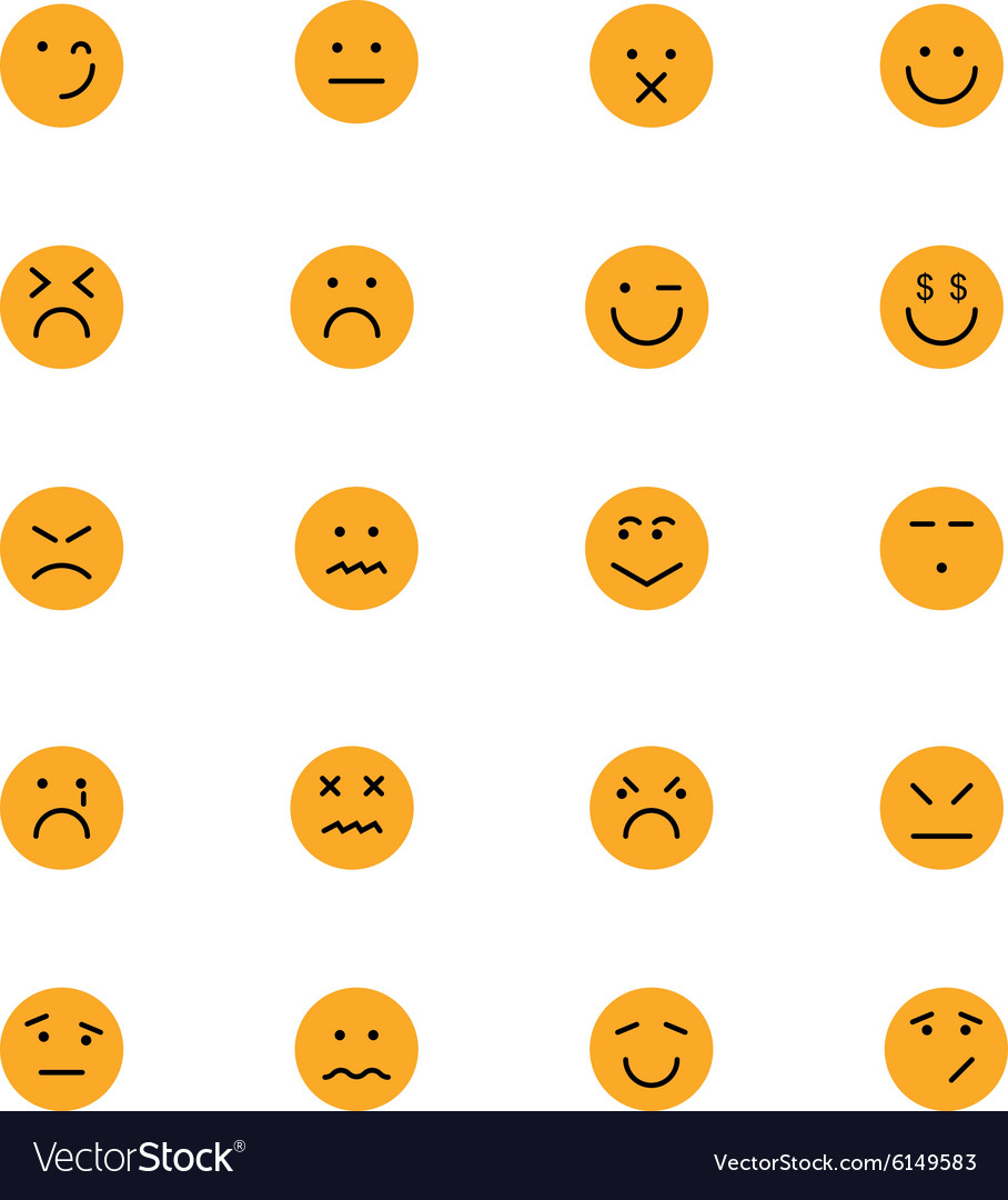 Smiley colored icons 6 vector